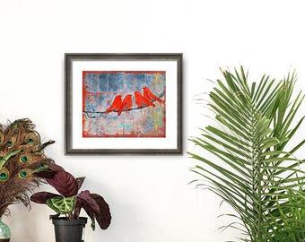 Bird Art, Boho Decor, Birds on a Wire, Ruby Red,  Wall Art Print, Wall Decor | Various Sizes