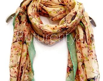 Light Pink / Beige Love Bird Cherry Blossom Green Trim Spring Scarf Summer Scarf / Gift For Her / Women Scarves / Fashion Accessories