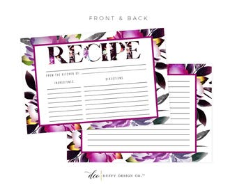 Pink Recipe Card Printable, Printable Recipe Card, DIY Recipe Cards, 4x6 Recipe Card, Bridal Shower Recipe Card, PDF Instant Download