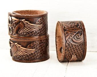Vintage Leather Cuff Bracelet Handmade From Tooled Belt