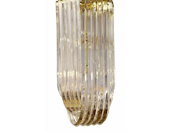 """Mid Century Modern Swag Lucite Brass Ribbon Chandelier Light Fixture Italy 50""""s"""