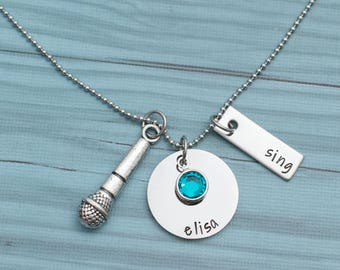 Personalized hand stamped singing necklace - gift for singer - stainless steel necklace for singer - birthstone necklace - microphone charm