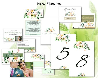 Floral Wedding/Wedding Invitation Suite/Wedding Invitation Set/Flowers/Personalized Wedding Invitation Set/Unusual/Modern Wedding