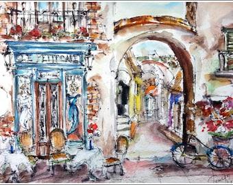 Le petit cafe. Streets of France. Pastel watercolor, framed (burgundy paspatru). Size 194 * 144mm.