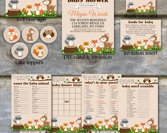 Woodland Baby Shower Party Package   Woodland Animal Baby Shower Package,  Printable Baby Shower Package