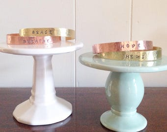 Personalized Hand Stamped Hammered Bracelet Cuff - copper or brass