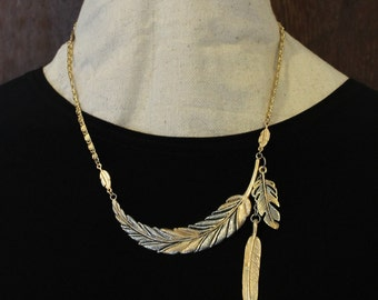 Hand Painted Two Toned Curved Feather Necklace