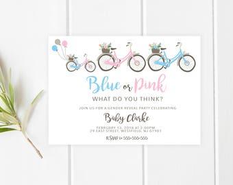 Gender Reveal Invitation, Bicycle Gender Reveal Party Invite, Boy Or Girl, Blue or Pink, Gender Reveal Party Invitation, Gender Reveal [282]
