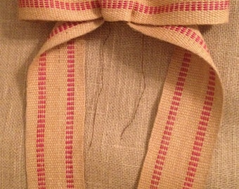 Primitive Christmas Natural & Striped Jute Webbing Rustic Burlap Garland Ribbon Bow Handmade Easter Fall Halloween