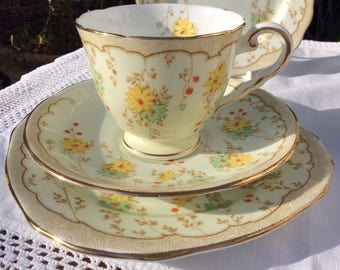 English Bone china 1950s Spring Floral trio, tea cup, saucer and plate Royal Stafford elegant bone China perfect for Spring