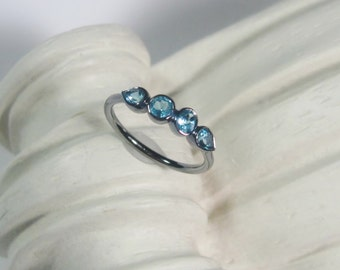 Sky Blue Topaz Gemstone Ring, 4 Stone Band, Oxidized Sterling Silver, Made to Order