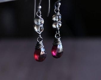Garnet and Citrine Gemstone Earrings in Oxidized Sterling Silver, Garnet Dangle Earrings, Garnet Wire Wrapped Earrings