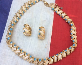 Vintage French Heavy Neclace and Earring Set in Gold, Cream and Turquoise