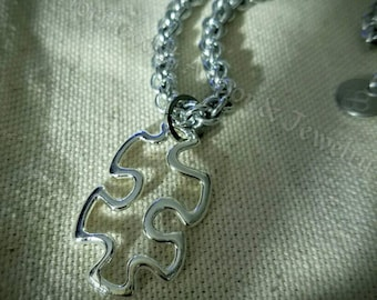 Handmade JPL Chainmail Puzzle Piece Pendant Necklace