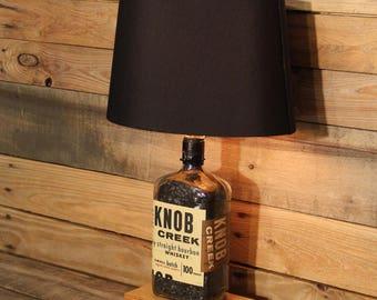 Knob Creek Bourbon Bottle Table Lamp / Bourbon Barrel Char, Reclaimed Wood Base, Full Sized Table Lamp, Bourbon Bottle Desk Lamp