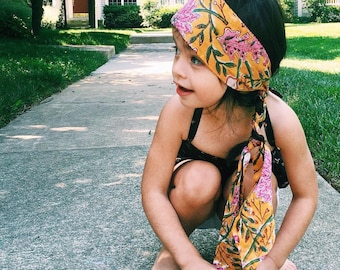 Block Print Soft Cotton Head wrap, baby head wrap, kids head wrap, kids turban, baby turban, baby bow headband, hippie kids baby headband