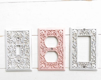 Metal Wall Decor, Light Switch Cover, Creamy Off White, Rocker Switch Plate, Decora Switch Plate,Fall Home Decor, French Cottage Kitchen