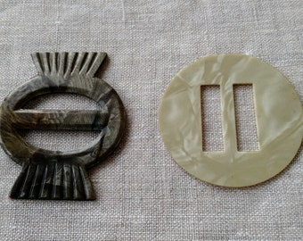 Two Vintage Celluloid Slide Buckles, Retro, Slides, Fasteners, Closure, Early Plastic, Antique, Dressmaking, Accessories, Buckle