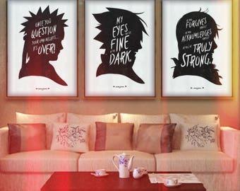 Words of the Shinobi. Inspirational Print Collection. Minimalist Anime Poster Art.