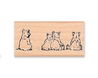 BEAR CUBS- wood mounted rubber stamp(MCRS 20-29)
