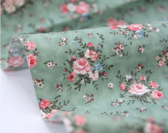 Cotton Fabric Floral Antique Bouquet - Green - By the Yard 39116
