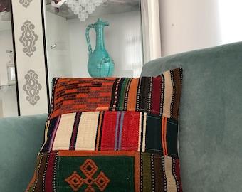 Home Decor for Pillow, Decorative Pillows, Turkish Kilim Pillow, Vintage Decor, Pillow Cover, Designer Pillow, Motif Pillow, 18x18 inch,