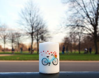 Hand Painted Love Bike White Pillar Candle Blue Bicycle Red Hearts Free UK shipping