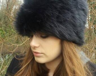 Tufty Black Faux Fur Russian Style Hat