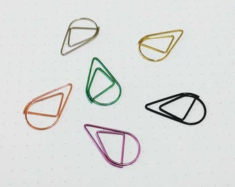 12pcs Teardrop Paper Clips, Paperclips, Planner Clips, Raindrop Paperclups, Rose Gold Clips, Binder Clip, School Office Stationery Supplies