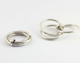 INTERLOCK triplet-ring in sterling silver