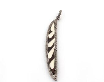 Mothers Day Sale 1 PC Pave Diamond Batik Bone Pendant -925 Sterling Silver - African Carved Bone Pendant 77mmx13mm PD1166