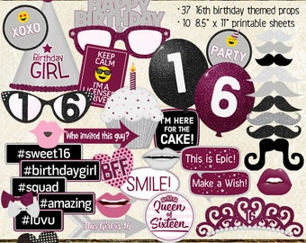 Photo Booth Props, HAPPY 16TH BIRTHDAY, party, burgundy, silver, sweet 16, printable props, instant download, selfie station