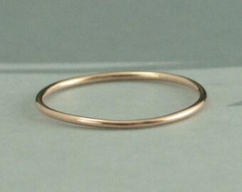Thin Full Round Rose Gold Band--1mm Round Stacking Ring--10K Rose Gold Ring--Rose Gold Spacer Ring--Rose Gold Women's Thin Wedding Band