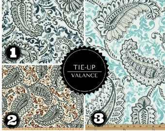 Tie Up Window Valance - Sash Valance - Rod Pocket Paisley Floral  - Window Topper - Blue - Aqua - Navy - Twill Premier Prints Fabric
