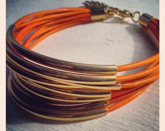 Leather Bracelets for Women Orange Bangle Bracelet Set Bohemian Festival Jewelry Gifts for Her