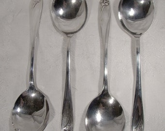 "4 Rogers International Daffodil 7"" Gumbo or Cream Soup Spoons"