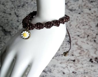 Brown Leather Daisy Charm Bracelet