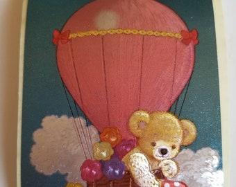 Vtg Teddy Bear Hot Air Balloon Sticker mod Dufex foil