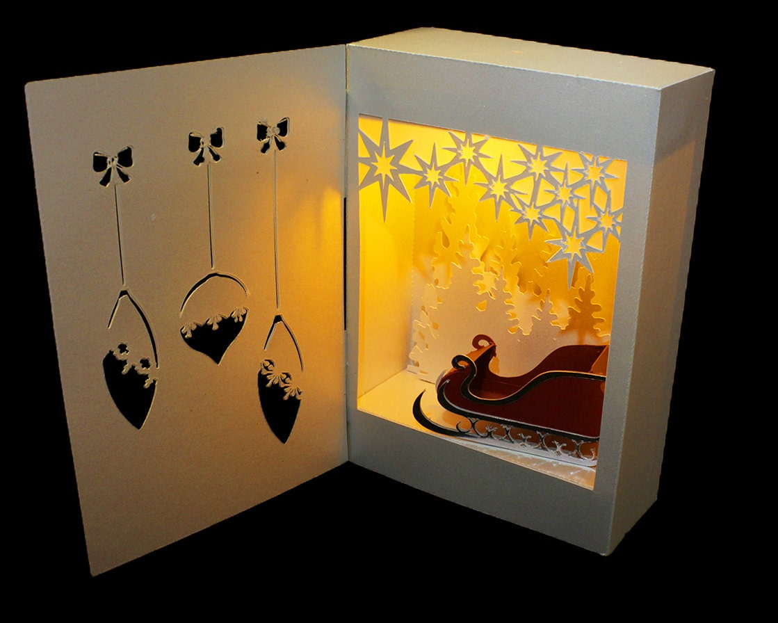 3D SVG Shadow Box Lantern Santa Surprise