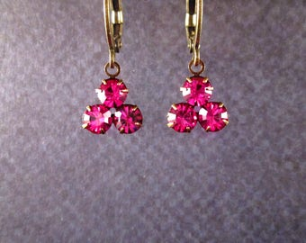 Rhinestone Earrings, Berry Pink Glass Triple Stone Pendants, Brass Dangle Earrings, FREE Shipping U.S.