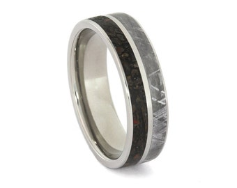 Meteorite Ring, Dinosaur Bone Wedding Band, Engravable Titanium Ring