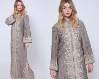 Vintage 70s EMBROIDERED Caftan SILK Caftan Embellished Boho Dress Hippie Maxi Dress