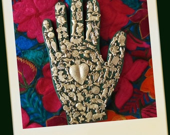 Ex Voto Wood Hand, Healing Hand, Mexican Milagro Charms,  Sacred Heart, Heart Milagros, Left Hand, Green