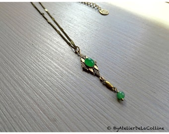Art deco necklace with green agate cabochon, Isolde collection