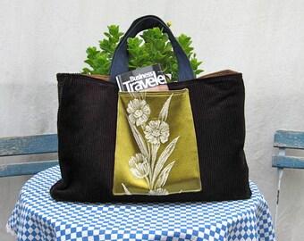 Tote Bag Purse Corduroy Denim Vintage Brocade