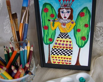 Queen of Hearts, sketch, writing journal.