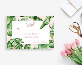 Tropical Printable Wedding RSVP Card - Tropical Wedding RSVP Card - Wedding invitation - Watercolor invitation - Wedding DIY - Banana Leaf