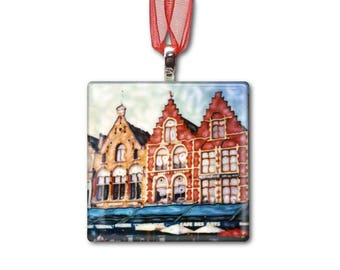 Brugge Town Square - Belgium - Handmade Glass Photo Ornament