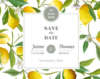 Save The Date | Lemons | Digital Copy Only | 5x5 Card