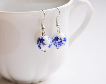 Ceramic jewellery, China jewelry, Blue flower earring, Flower girl gift, Blue china, Bead earings, Mother gift, Porcelain earrings, Coworker